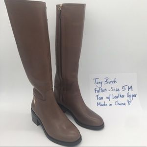 Tory Burch Fulton riding boots in tan size 5